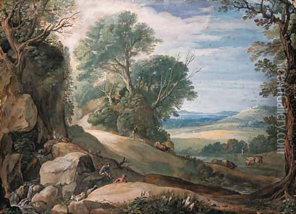 An Italianate landscape with herdsmen and cattle by a stream, buildings in the hills beyond Oil Painting - Paul Bril
