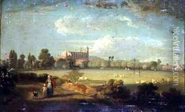 A View of Eton from the Playing Fields Oil Painting - Edmund Bristow