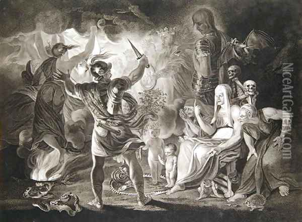 Macbeth, the Three Witches and Hecate in Act IV, Scene I of 'Macbeth' Oil Painting - John Boydel