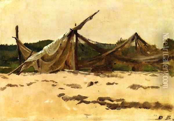 Nets and Sails Drying Oil Painting - Dennis Miller Bunker