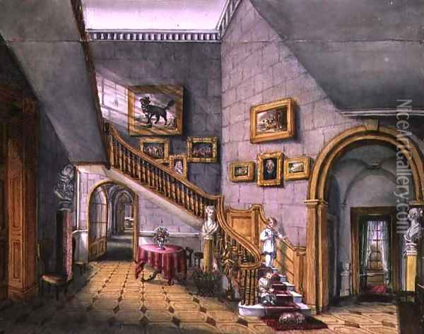 The Staircase, Strood Park, f26 from An Album of Interiors, (1) 1843 Oil Painting - Charlotte Bosanquet