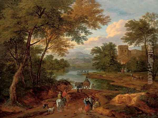 A wooded river landscape with travellers on a track, a house beyond Oil Painting - Pieter Bout