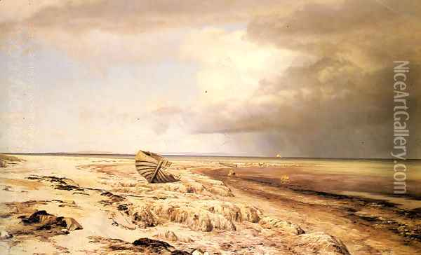 Deserted Boat on a Beach Oil Painting - Janus Andreas Bartholin La Cour