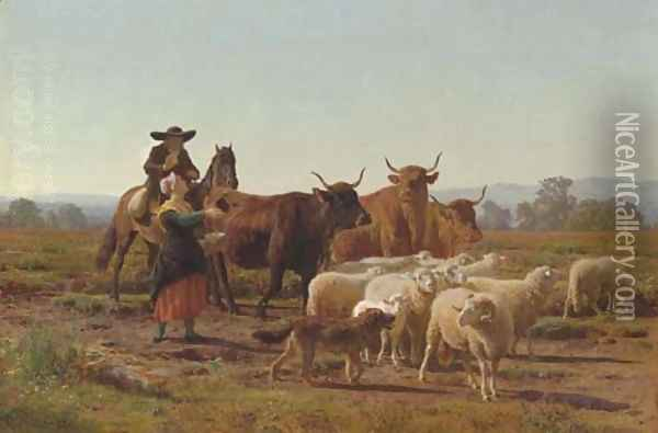 A Pastoral Scene Oil Painting - Auguste Bonheur