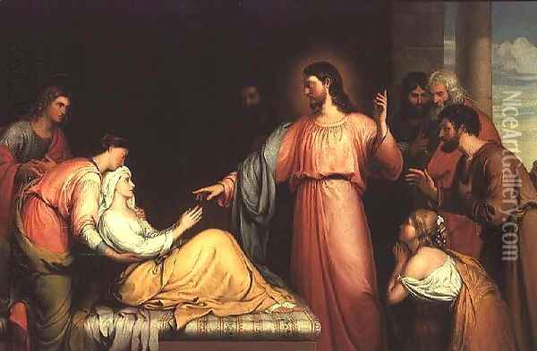 Christ healing the mother of Simon Peter Oil Painting - John Bridges