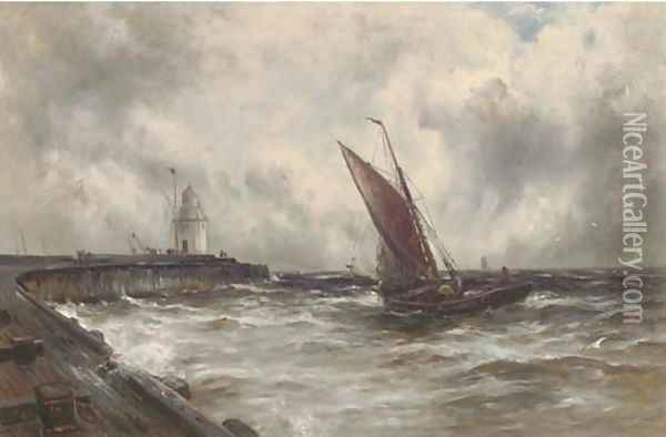 Squally weather off Gorleston Oil Painting - Gustave de Breanski