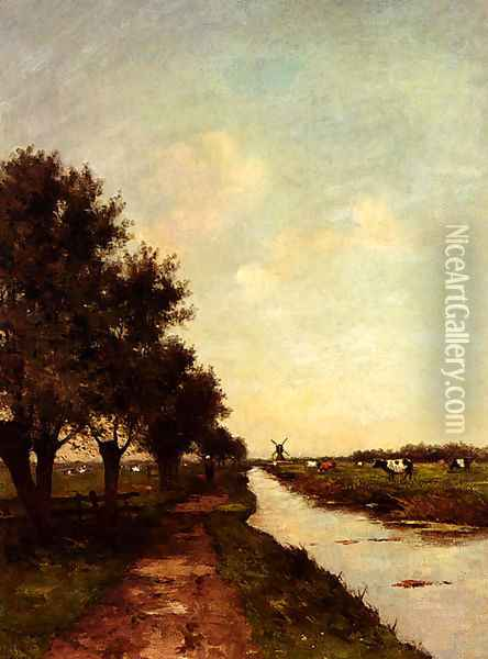 Grazing Cows In A Polder Landscape Oil Painting - Victor Bauffe