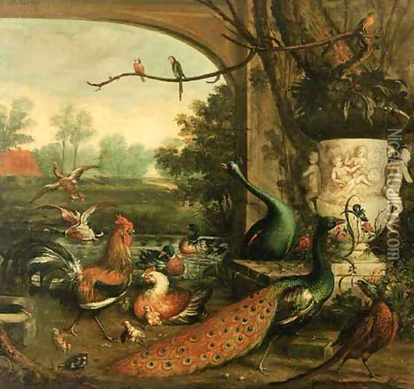 Peacocks, chickens and pheasants by a sculpted vase Oil Painting - Wilfred Williams Ball