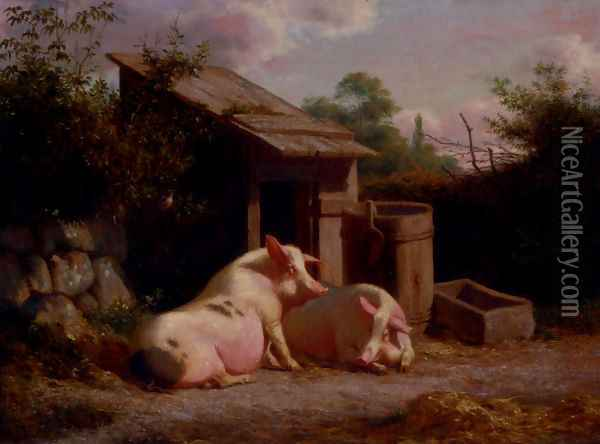 Pigs In A Farmyard Oil Painting - Carl Henrik Bogh