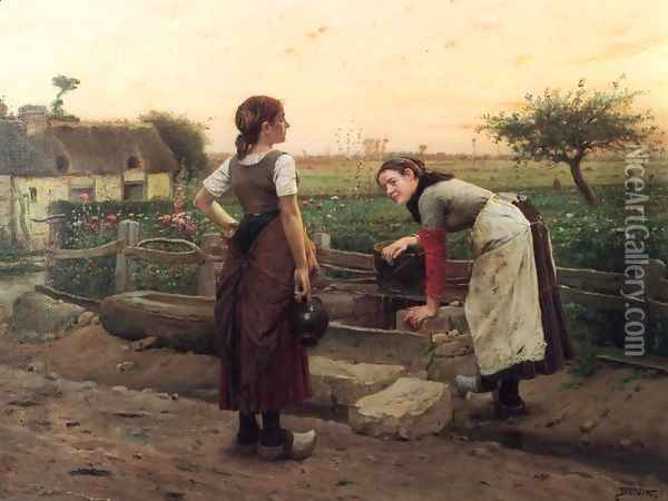 At the Well Oil Painting - Venceslas Briozik