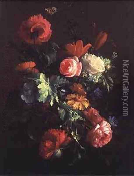 Poppies, Roses, Lilies, Daisies, a Convolvulus and Other Flowers in a Glass Bowl on a Ledge, with a Cabbage White Butterfly Above Oil Painting - Elias van den Broeck
