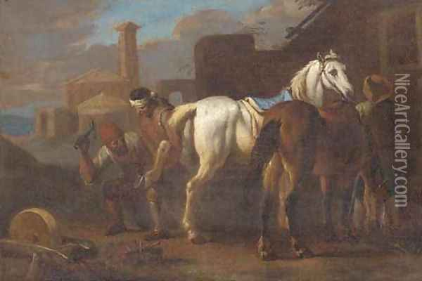 Farriers working on a horse in a village Oil Painting - Pieter van Bloemen