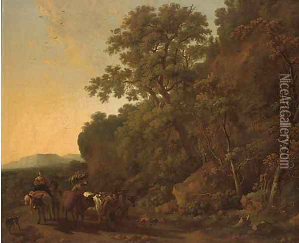 A wooded landscape with a drover and his cattle with other travellers on a track Oil Painting - Nicolaes Berchem