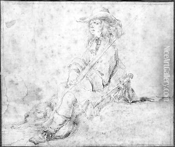 A seated huntsman with a dog sleeping at his feet Oil Painting - Stefano della Bella