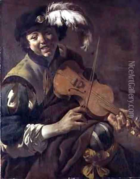 A Boy Playing the Violin Oil Painting - Hendrick Ter Brugghen