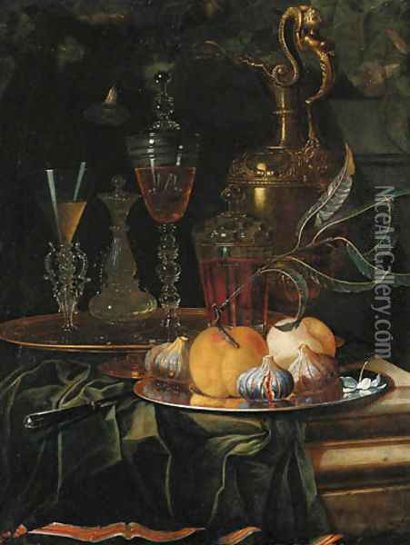 Figs and peaches on a pewter platter, glasses of wine on a gold dish, an ornamental silver-gilt ewer and a knife on a partly draped ledge Oil Painting - Christian Berentz