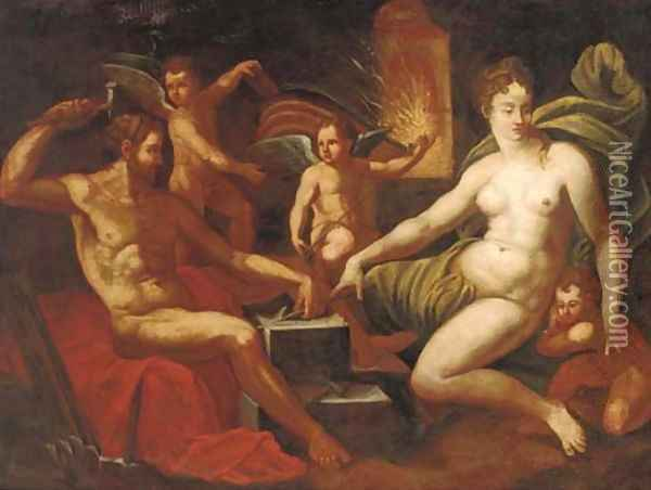 Venus at the Forge of Vulcan Oil Painting - Jacob De Backer