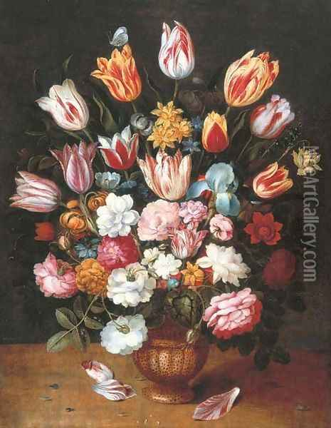 Tulips, daffodils, roses, an iris and other flowers in a pottery vase on a ledge Oil Painting - Osias, The Younger Beert