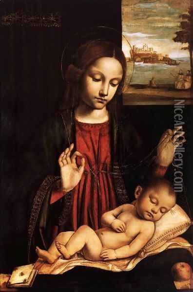 Virgin of the Veil (Madonna del Velo) Oil Painting - Ambrogio Bergognone