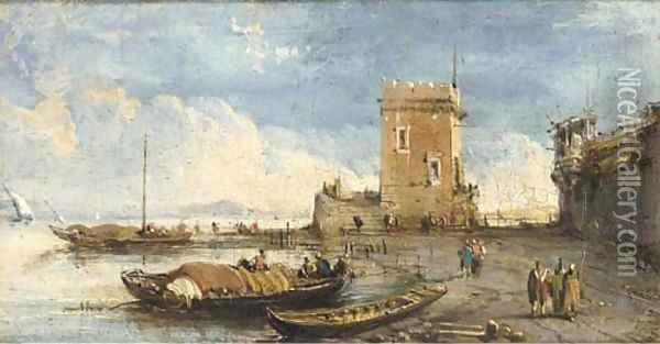 A capriccio of the Venetian laguna Oil Painting - Giuseppe Bernardino Bison