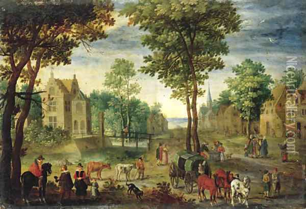 A horseman conversing with elegant company Oil Painting - Jan The Elder Brueghel