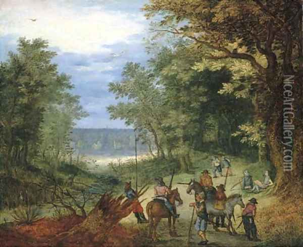 A wooded landscape with soldiers resting on a path by a stream Oil Painting - Jan The Elder Brueghel