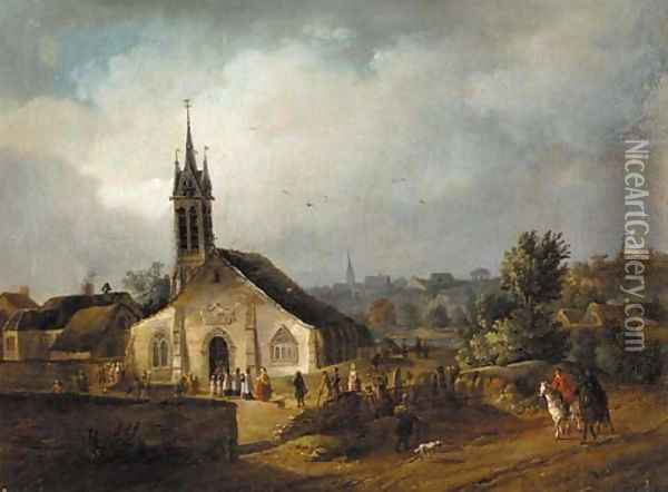 A country church with villagers and horsemen on a nearby track Oil Painting - Johann-Christian Brand