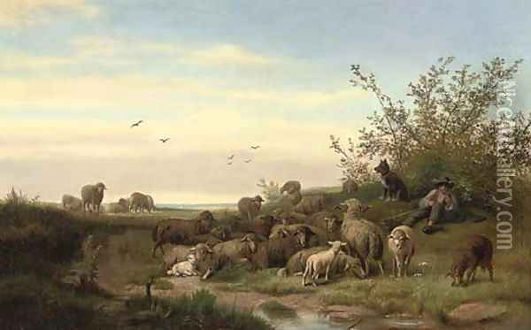 A shepherd resting with his flock Oil Painting - Caesar Bimmermann