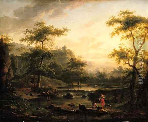A river landscape with a washerwoman and a herder resting Oil Painting - Jan Both