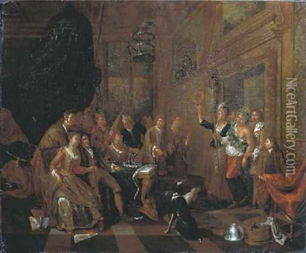 Elegant company feasting in an interior, a man dressed as Bacchus entering the room Oil Painting - Balthasar Van Den Bossche