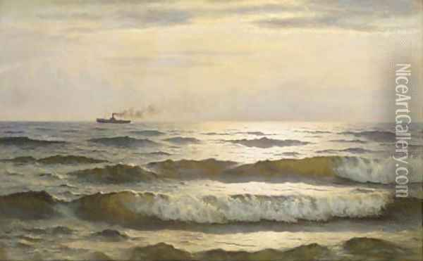 Solglans paa havet sun glimmering on the sea Oil Painting - Johannes Herman Brandt