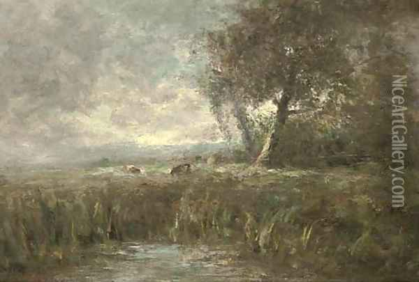 A landscape with pool, and cattle beyond Oil Painting - George A. Boyle
