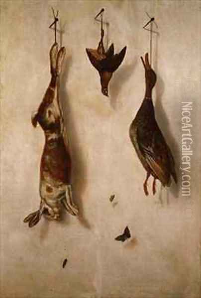 Still-life of dead game hanging on a wall Oil Painting - F.A. Brandel