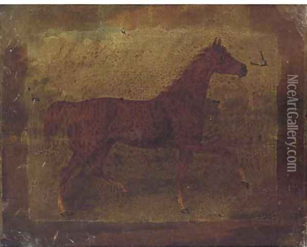 A chestnut horse in a landscape; and A bridled bay horse in a stable Oil Painting - Thomas Bardwell