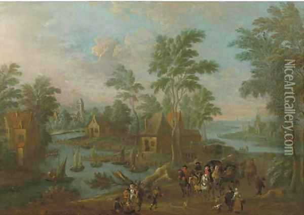 A river landscape with a carriage, horsemen and travellers on a path in a village Oil Painting - Marc Baets