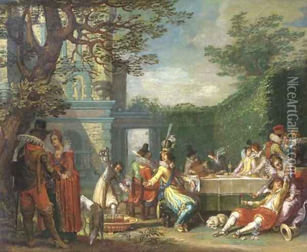 A merry company feasting in an elegant garden Oil Painting - Willem Buytewech