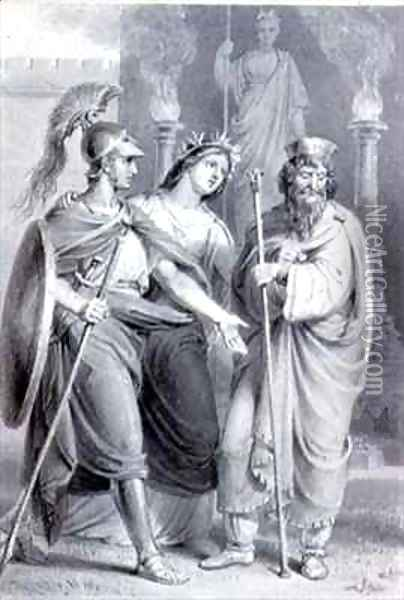 Warrior accompanied by a woman addressing a Priest in the Precincts of a Temple Oil Painting - Edward Francis Burney