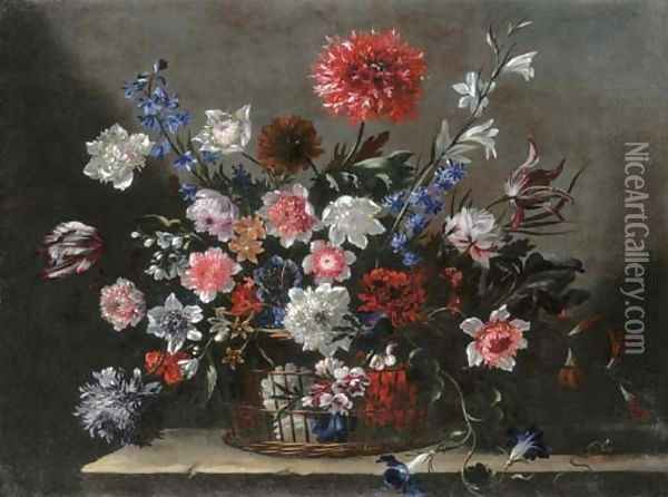 Poppies, tulips, morning glory and other flowers in a basket on a stone ledge Oil Painting - Nicolas Baudesson