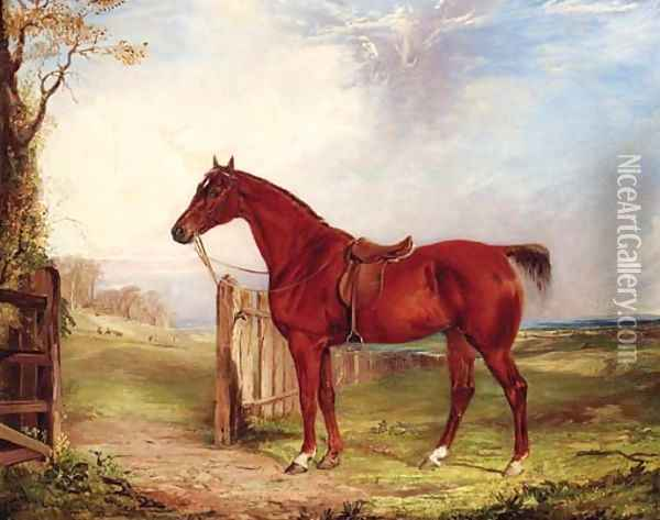 A saddled chestnut Hunter in an extensive Landscape with a Hunt beyond Oil Painting - Thomas W. Bretland
