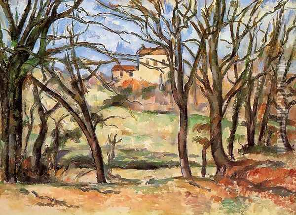 House Behind Trees On The Road To Tholonet Oil Painting - Paul Cezanne