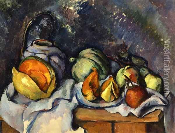 Still Life with Fruit and a Pot of Ginger Oil Painting - Paul Cezanne