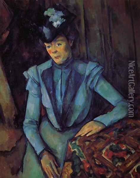 Seated Woman In Blue Oil Painting - Paul Cezanne