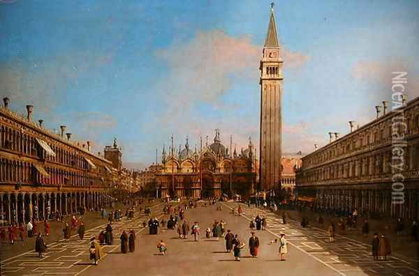 Piazza San Marco looking towards the Basilica di San Marco Oil Painting - (Giovanni Antonio Canal) Canaletto