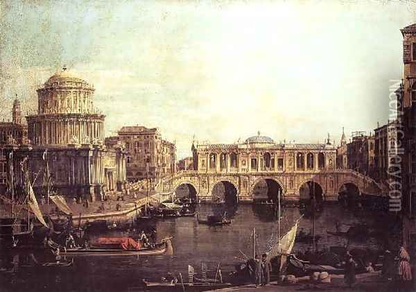 Capriccio The Grand Canal, with an Imaginary Rialto Bridge and Other Buildings 1740s Oil Painting - (Giovanni Antonio Canal) Canaletto