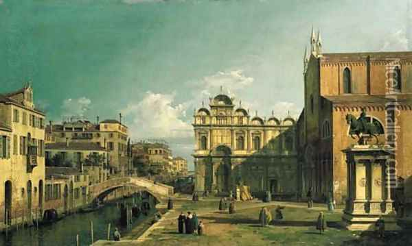 The Campo Santi Giovanni e Paolo, Venice, with the West End of the Church and the Scuola di San Marco Oil Painting - (Giovanni Antonio Canal) Canaletto