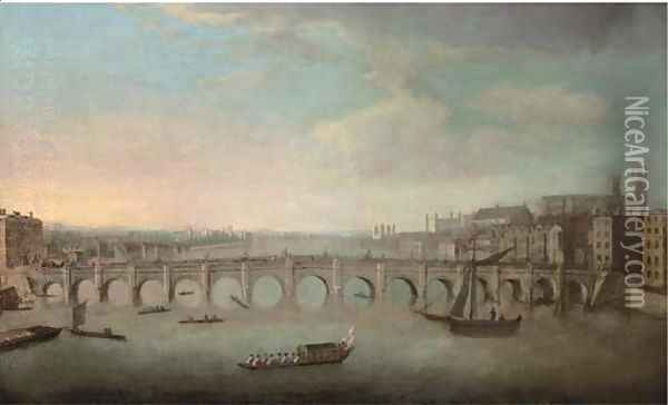 View of the Thames, with Westminster Bridge from the North Oil Painting - (Giovanni Antonio Canal) Canaletto
