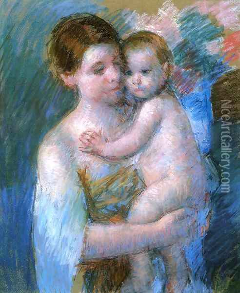 Mother Holding Her Baby Oil Painting - Mary Cassatt