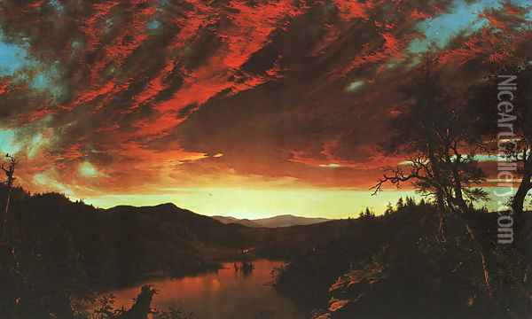 Secluded Landscape at Sunset, 1860 Oil Painting - Frederic Edwin Church