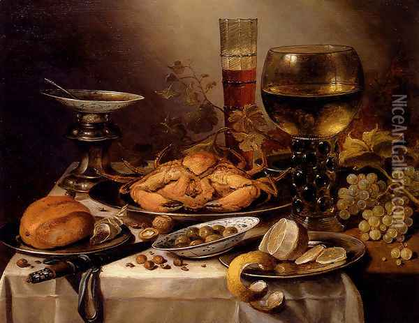 Banquet Still Life With A Crab On A Silver Platter, A Bunch Of Grapes, A Bowl Of Olives, And A Peeled Lemon All Resting On A Draped Table Oil Painting - Pieter Claesz.