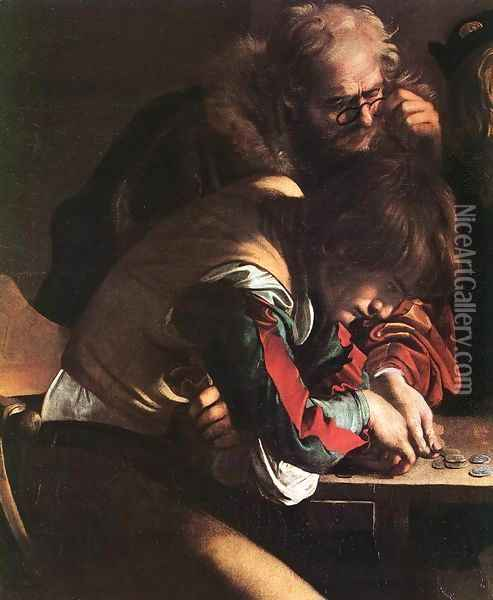 The Calling of Saint Matthew (detail 1) 1599-1600 Oil Painting - Caravaggio